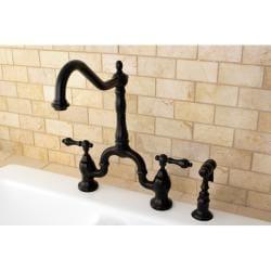 Victorian High Spout Oil Rubbed Bronze Bridge Double Handle Kitchen Faucet