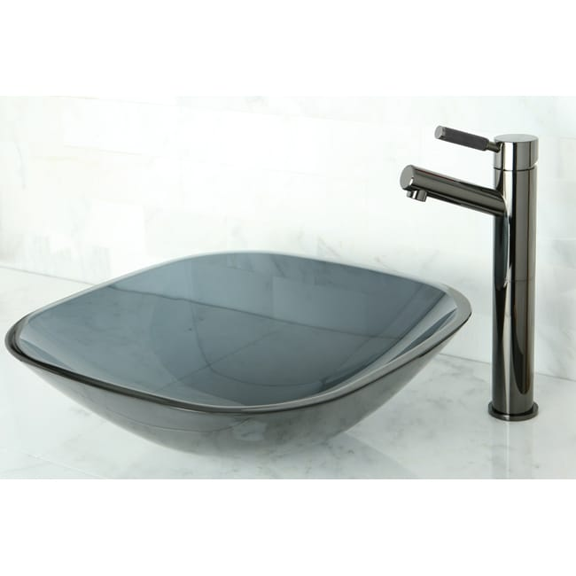 Square Black Vessel Sink - Thumbnail 0