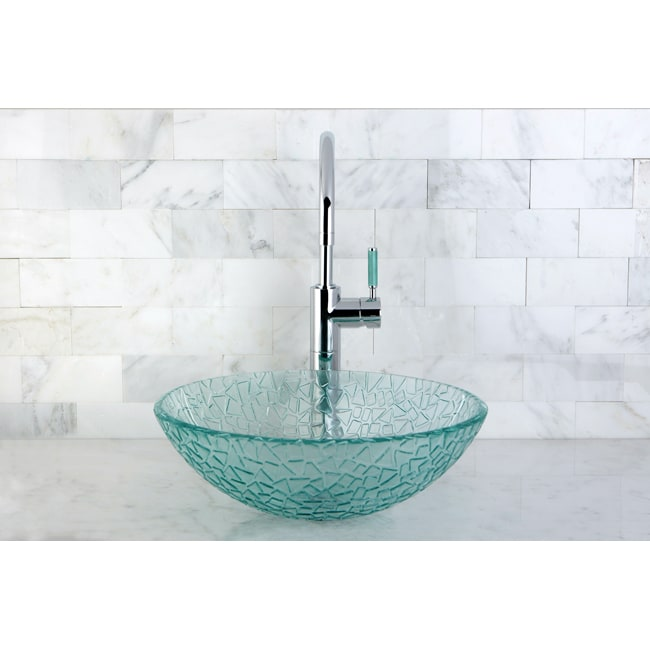 Round Tempered Glass Vessel Sink - Thumbnail 0