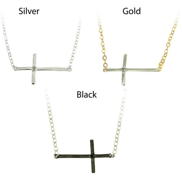 Finesque Silver Overlay Diamond Accent Cross Necklace