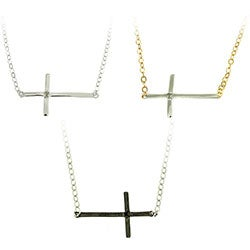 Finesque Silver Overlay Diamond Accent Cross Necklace (4 options available)