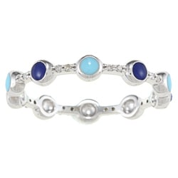 Victoria Kay Sterling Silver 1/3ct TDW Diamond and Blue Enamel Band (J-K, I2-I3)