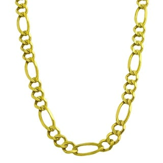 Fremada 14k Yellow Gold Solid Men's 6.8 millimeters Figaro Link Necklace