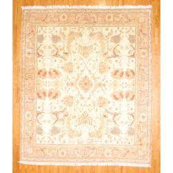 Herat Oriental 1950s Semi-Antique Turkish Hand-knotted Oushak Beige/Salmon Wool Rug (12' x 14')