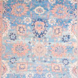 1950s Persian Hand-knotted Vegetable Dye Mahal Light Blue/ Ivory Wool Rug (12'6 x 15'6) - Thumbnail 1