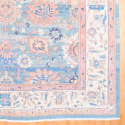 1950s Persian Hand-knotted Vegetable Dye Mahal Light Blue/ Ivory Wool Rug (12'6 x 15'6) - Thumbnail 2