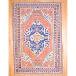 Herat Oriental Afghan Hand-knotted Soumak Rust/ Navy Wool Rug (10'4 x 16'5)