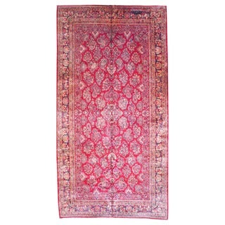 Herat Oriental 1920s Antique Persian Hand-knotted Sarouk Red/ Navy Wool Rug (10' x 19'6)