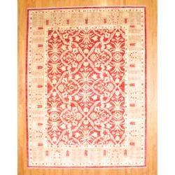 Herat Oriental Afghan Hand-knotted Vegetable Dye Red/Beige Wool Rug (11' x 14'9)