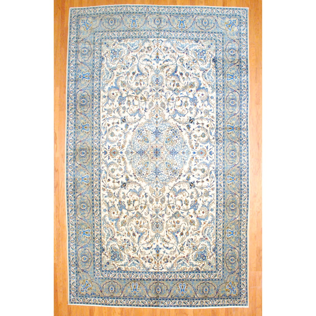 Shop Persian Hand Knotted Isfahan Ivory Olive Wool Rug
