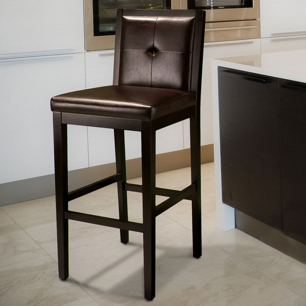 Jameson Brown Leather Bar Stool by Christopher Knight Home