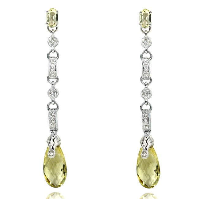 Annello by Kobelli 18k Gold Briolette Lemon Quartz and 1/4ct TDW Diamond Earrings (I-J, V