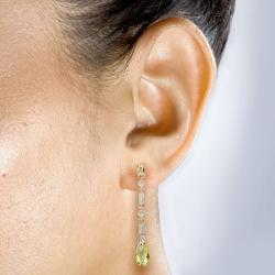 Annello by Kobelli 18k Gold Briolette Lemon Quartz and 1/4ct TDW Diamond Earrings (I-J, V - Thumbnail 2