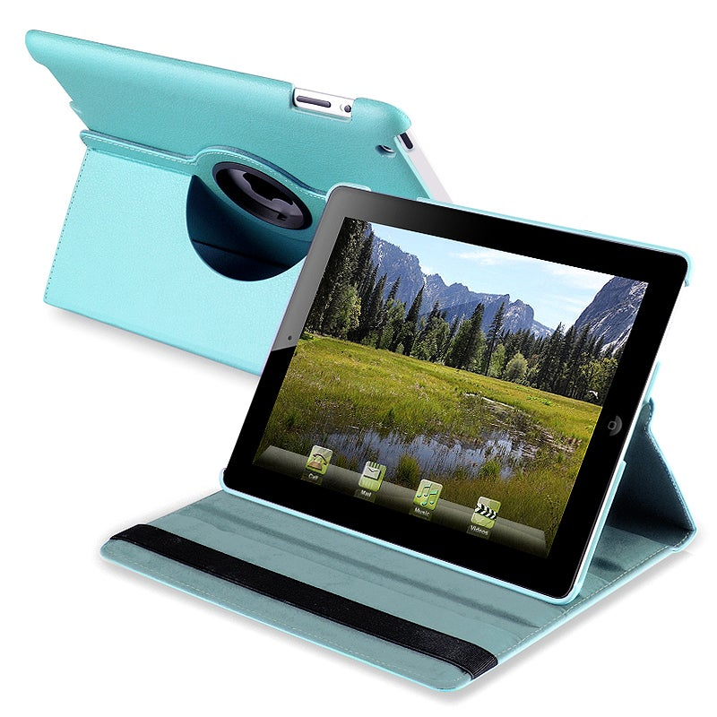 Blue 360-degree Swivel Leather Case for Apple iPad 2/ 3