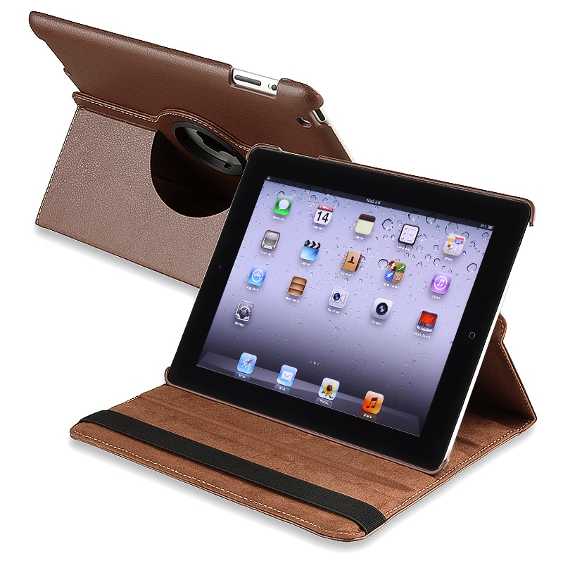 Brown 360-degree Swivel Leather Case for Apple iPad 2/ 3