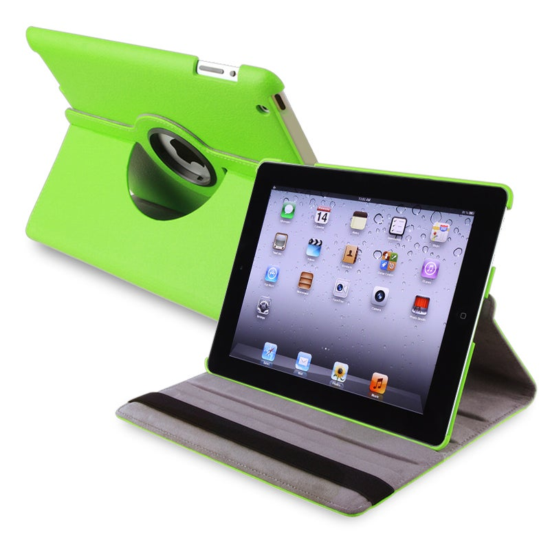 INSTEN Green 360-degree Swivel Leather Tablet Case Cover for Apple iPad 2/ 3 - Thumbnail 0