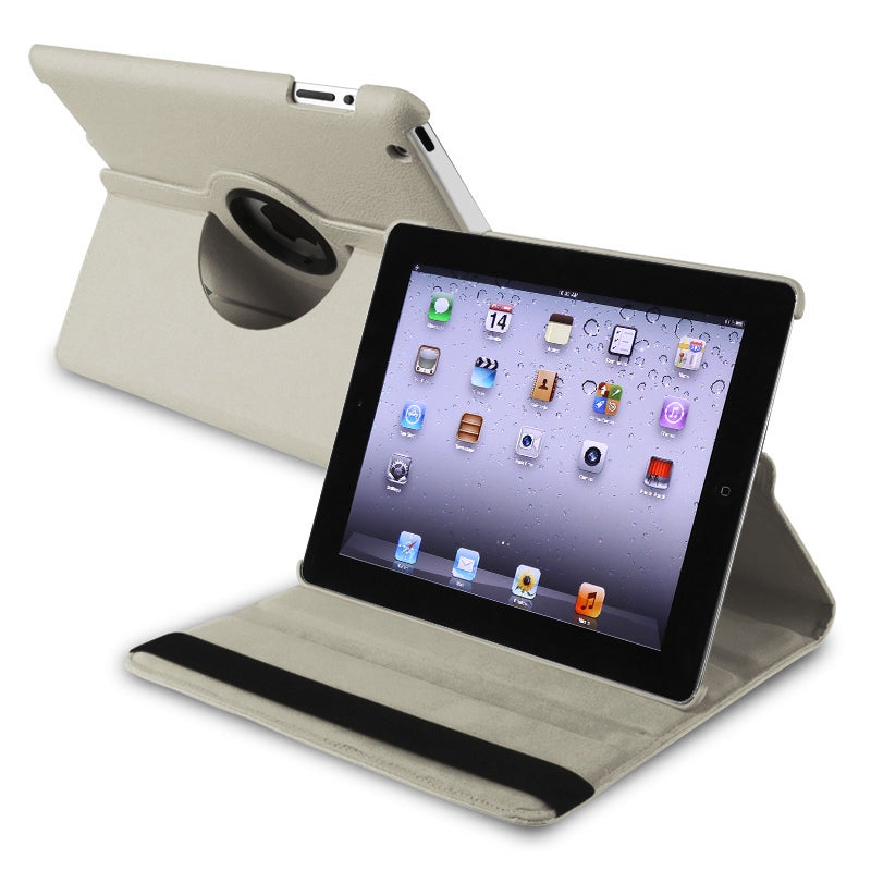 Grey 360-degree Swivel Leather Case for Apple iPad 2/ 3