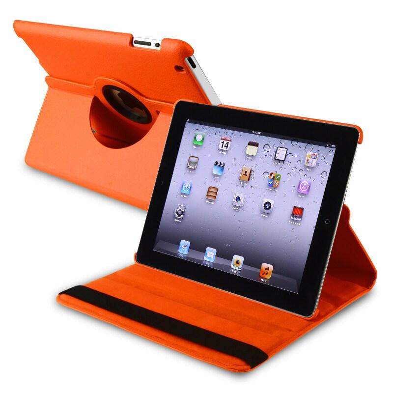 INSTEN Orange 360-degree Swivel Leather Tablet Case Cover for Apple iPad 2/ 3