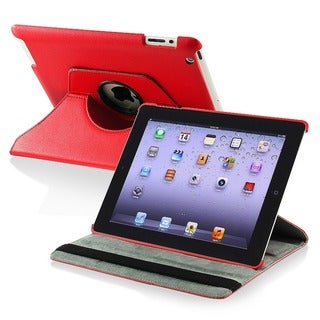 Insten Red 360-degree Swivel Leather Fabric Tablet Case with Stand for Apple iPad 2/ 3/ 4