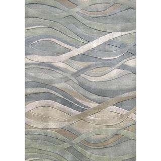 Alliyah Handmade Grey/Green New Zealand Blend Wool Rug (6' x 9')