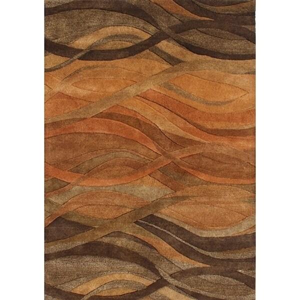 Alliyah Handmade Multi Abstract New Zealand Blend Wool Rug - 6' x 9'