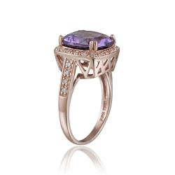 Glitzy Rocks Rose Gold over Silver 10 3/4ct TGW Amethyst and CZ Square Ring - Thumbnail 1