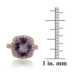 Glitzy Rocks Rose Gold over Silver 10 3/4ct TGW Amethyst and CZ Square Ring - Thumbnail 2