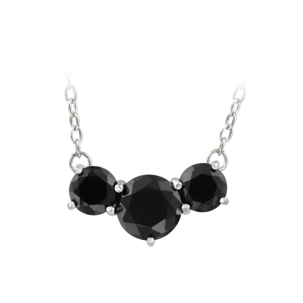 Glitzy Rocks Sterling Silver 5ct TGW Black Spinel 3-stone Necklace