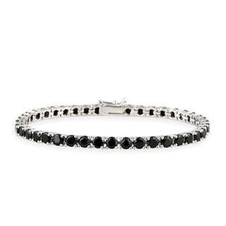 Glitzy Rocks Sterling Silver 14 3/4ct TGW Black Spinel Tennis Bracelet