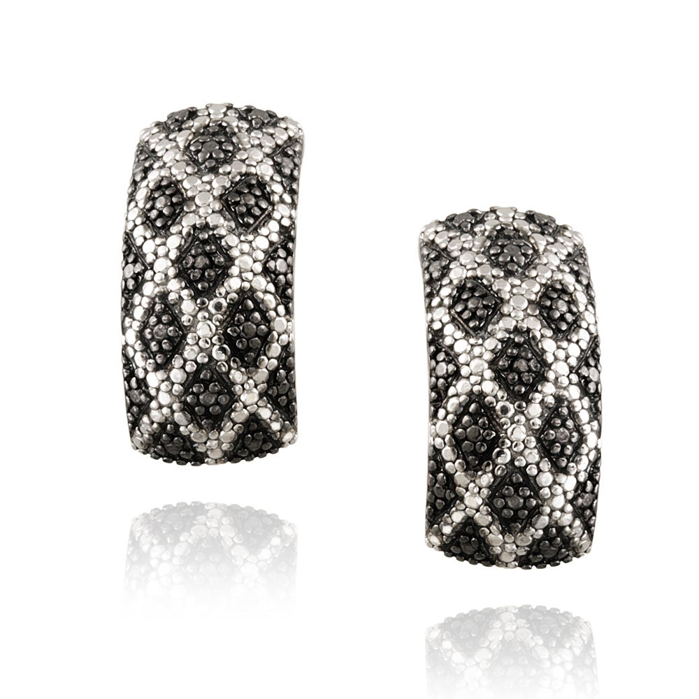 DB Designs Sterling Silver Black Diamond Accent Black and White Cuff Earrings