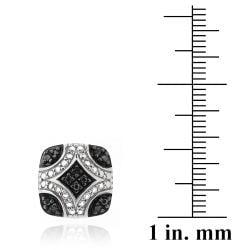 DB Designs Sterling Silver 1/10ct TDW Black Diamond Square Earrings - Thumbnail 2