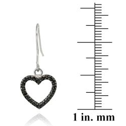 DB Designs Sterling Silver Black Diamond Accent Heart Hook Earrings - Thumbnail 2