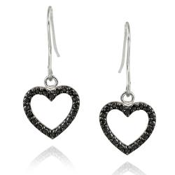 DB Designs Sterling Silver Black Diamond Accent Heart Hook Earrings