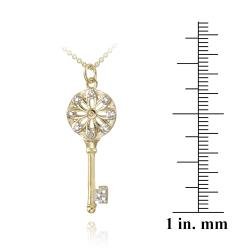 DB Designs 18k Yellow Gold over Silver Diamond Accent Medallion Key Necklace