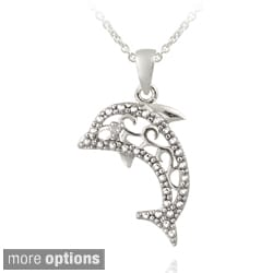 DB Designs Silver Diamond Accent Filigree Dolphin Necklace