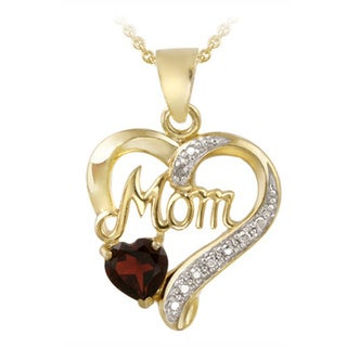 Link to Glitzy Rocks 18k Gold over Silver Gemstone and Diamond 'Mom' Necklace Similar Items in Necklaces