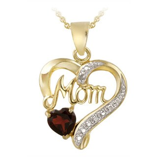 Glitzy Rocks 18k Gold over Silver Gemstone and Diamond 'Mom' Necklace