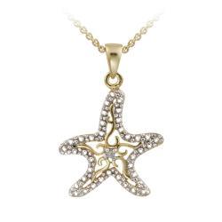 DB Designs 18k Yellow Gold over Silver Diamond Accent Filigree Starfish Necklace