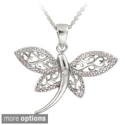 DB Designs Silver Diamond Accent Filigree Dragonfly Necklace (Option: Black)