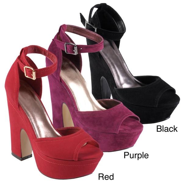 Journee Collection Women's 'Chick' Peep Toe Ankle Strap Platform Heel