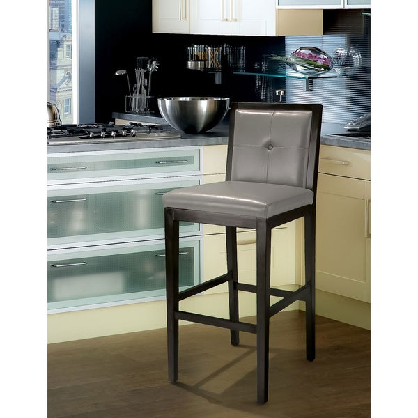 Jameson Grey Leather Bar Stool by Christopher Knight Home
