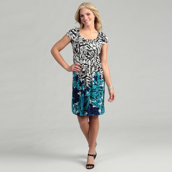 London Times Women's Floral Smocked Jersey Dress