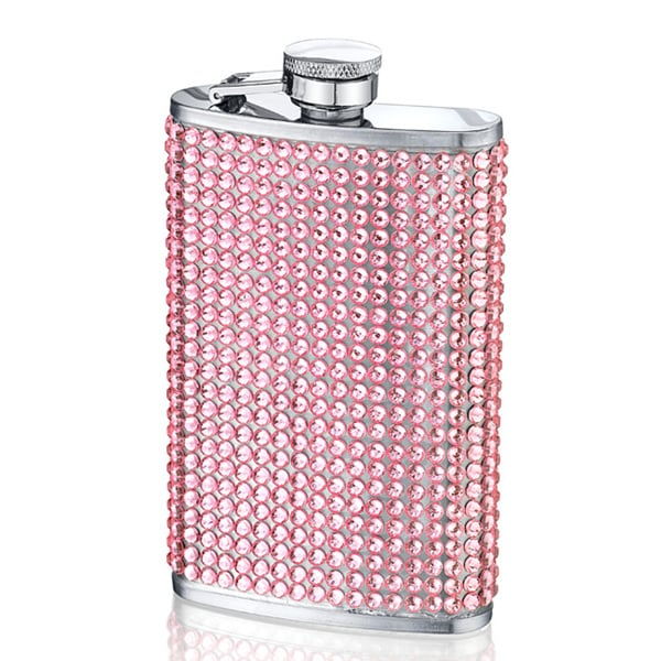 Sassy Pink Crystal-studded Stainless Steel 4-ounce Beverage Flask