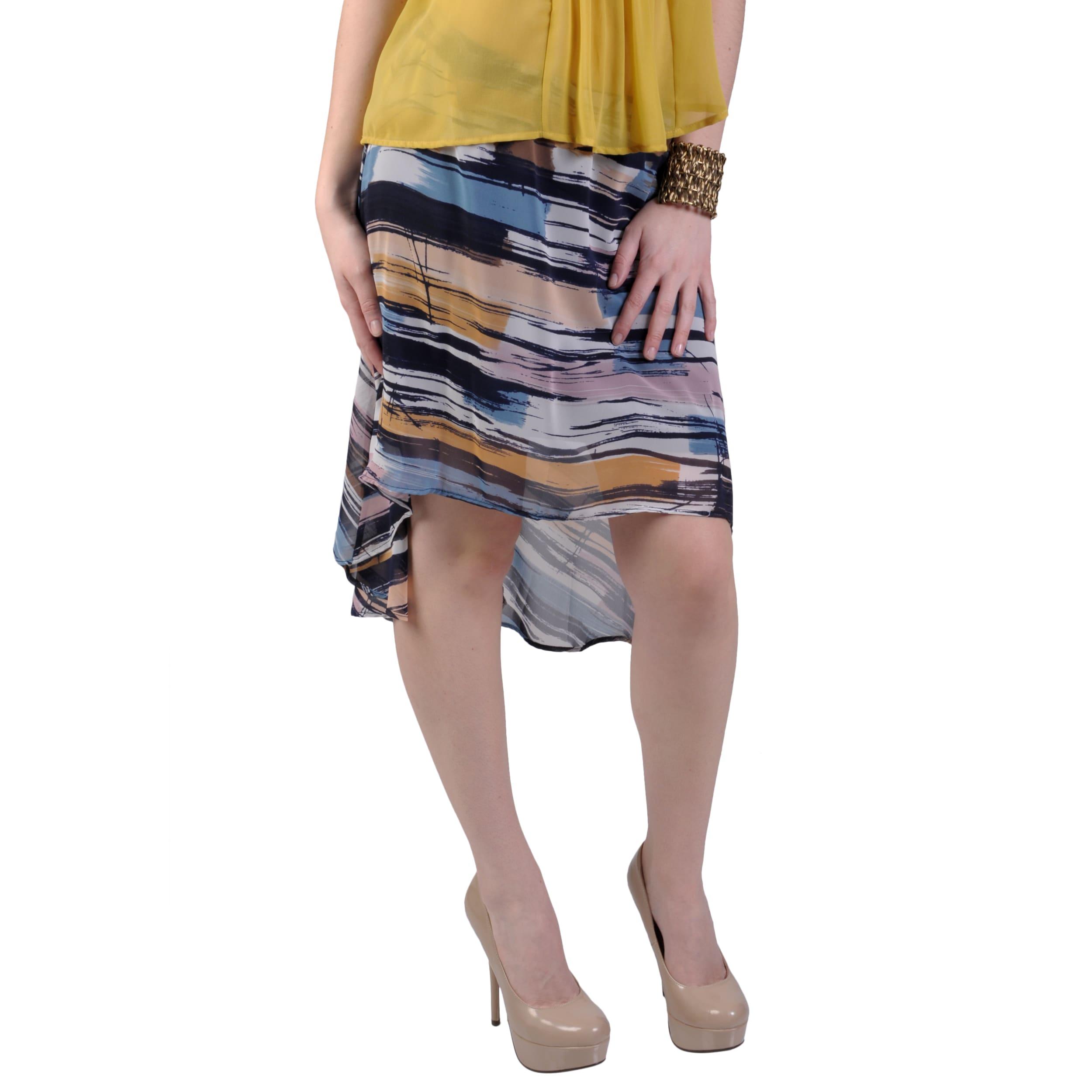 Journee Collection Juniors Multicolor Flowy Chiffon Long Tail Hem Skirt