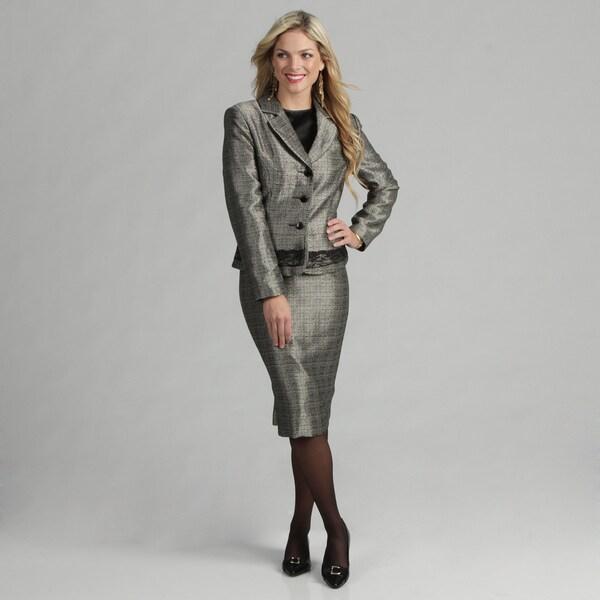 Danillo Women's Notch Color Novelty Suit w/Lace Trim Jacket