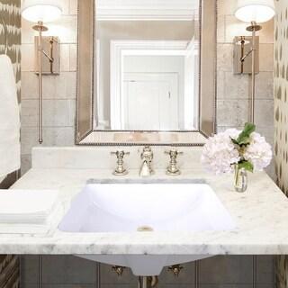 "Highpoint Collection Rectangle Double Glazed  Undermount Ceramic Bathroom Sink - 20.5"" x 14.25"" x 8"""