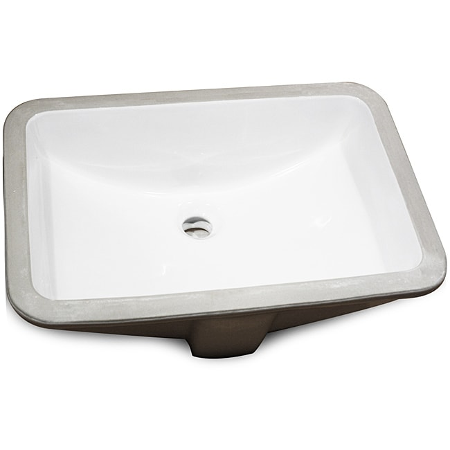 Rectangle Glazed Underside Undermount Ceramic Bowl