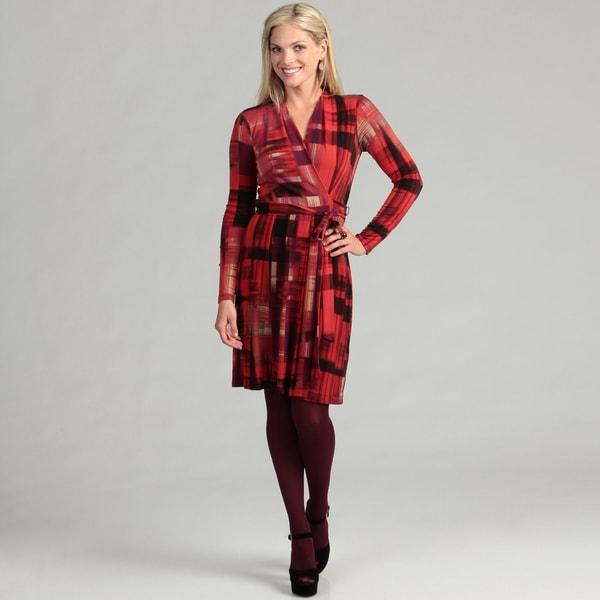 London Times Women's Red/ Bronze Belted Dress FINAL SALE