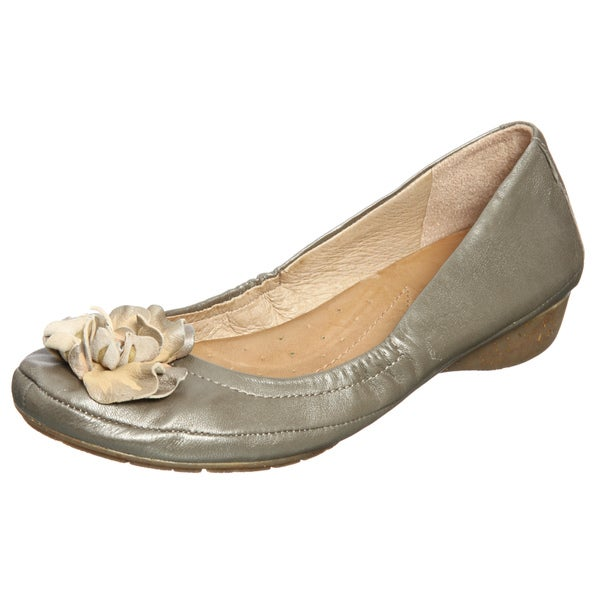 Naya Women's 'Rustica' Nickel Flower Embellished Flats