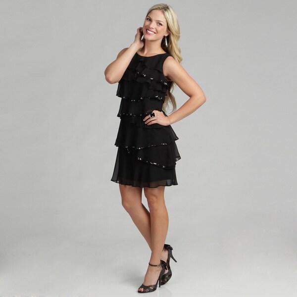 Calvin Klein Women's Black Tiered Cocktail Dress